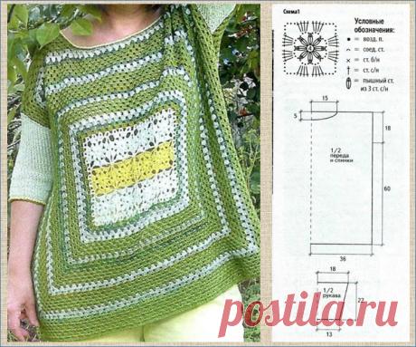 10 туник для полных на основе бабушкиного квадрата - плюс схемы для вязания крючком | МНЕ ИНТЕРЕСНО | Яндекс Дзен