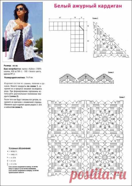 Роскошный жакетик из мотивов. Схемы, описание вязания (Вязание крючком) — Журнал Вдохновение Рукодельницы