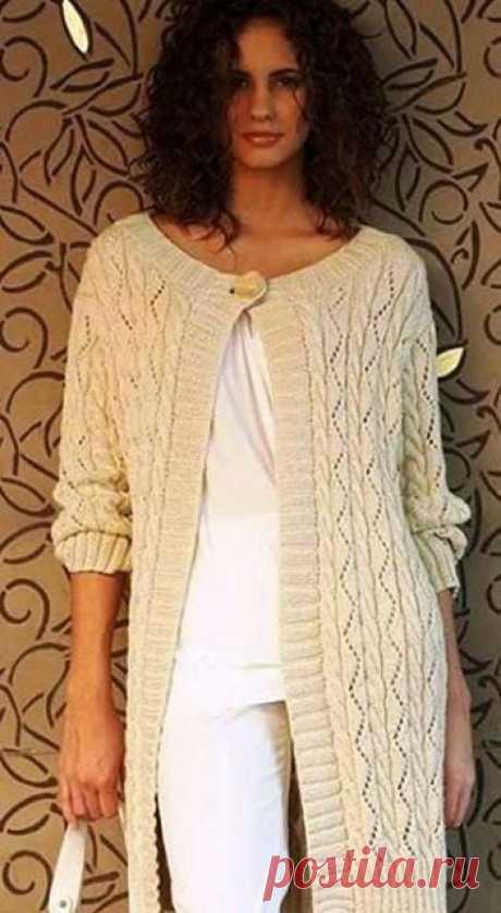 Удлиненный кардиган для стильных женщин спицами – схема ажурного узора и описание — Пошивчик одежды