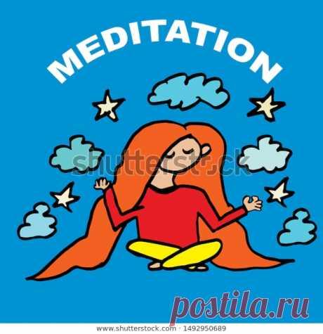 Girl is meditating. Meditation. World Meditation Day. Stock Vector Illustration.