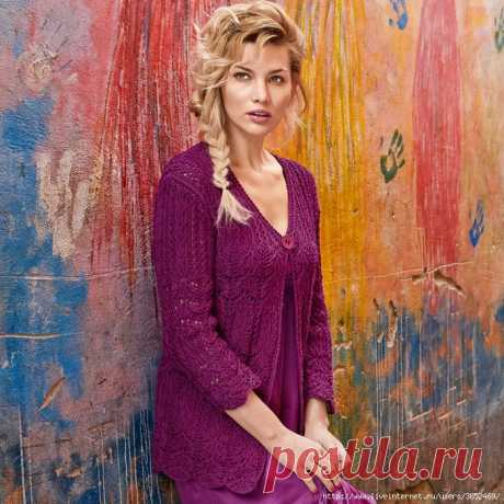 Openwork jacket of color of a fuchsia