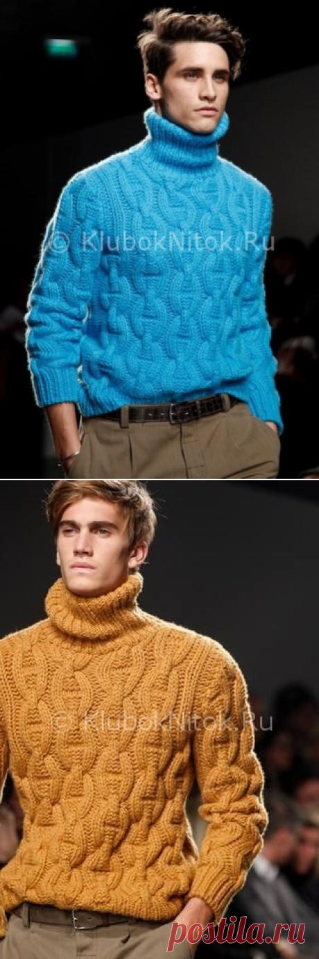El jersey Hermes Fall-Winter de ostentación   la Labor de punto de hombre   la Labor de punto por los rayos y el gancho. Los esquemas de la labor de punto.