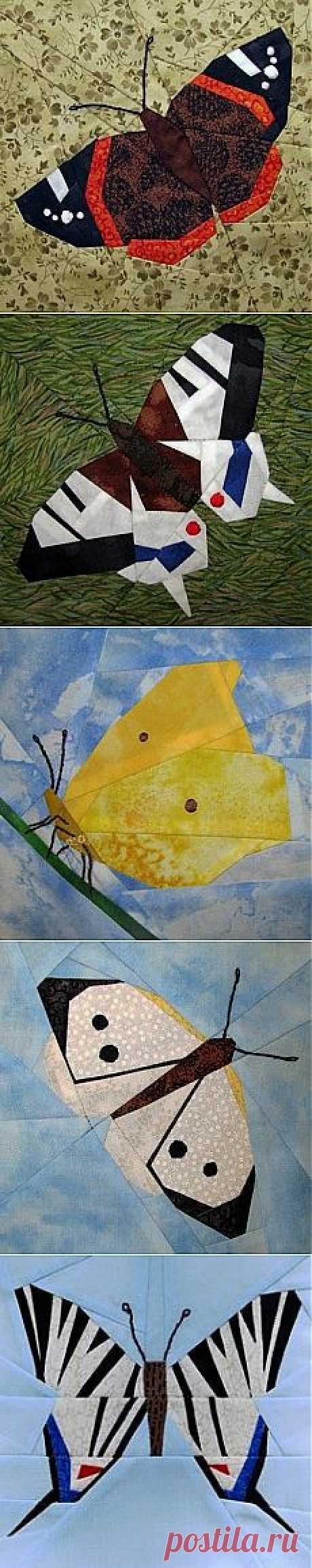 Лоскутные блоки с бабочками..