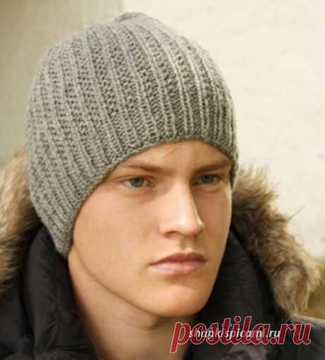 Мужская вязаная шапка в резинку (вязание спицами)