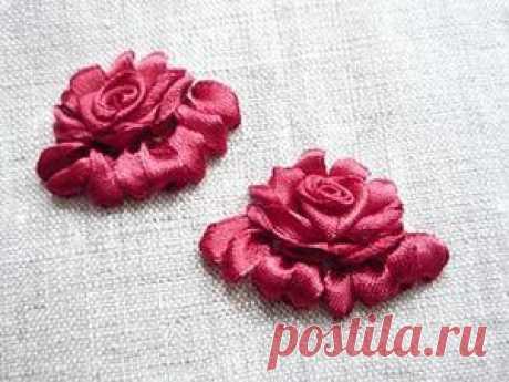 Красивые атласные розы своими руками