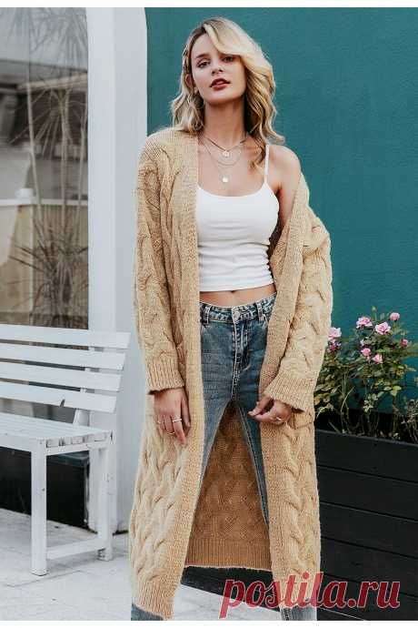 Simplee Winter mohair long cardigan knitted sweater women Long sleeve - idetsnkf