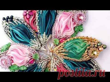 Украшения из лент шибори. Shibori silk ribbon handmade jewelry Vasylyshyn Olha  ジュエリーシルク