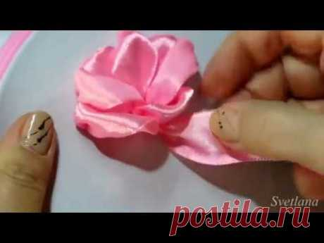 Роза из лент. Мастер-класс. DIY/Rose satin Ribbon