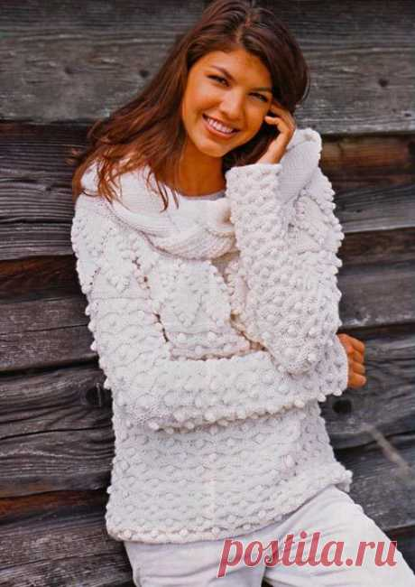 Вяжем светлый зимний пуловер спицами | Мой Милый Дом - хенд мейд идеи рукоделия и дизайна
