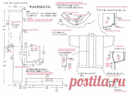 Translation Request – Quilted Hanten Pattern from nani IRO – Japanese Sewing, Pattern, Craft Books and Fabrics