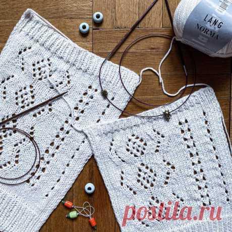 Моя французская кофточка из Lang Yarn NORMA. Вязание ажурного летнего свитера   Рекомендательная система Пульс Mail.ru