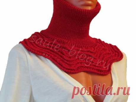 Фото-МК вязания манишки с ажурным нагрудником