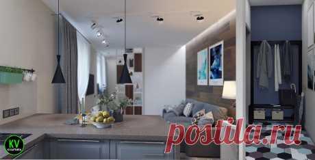 Мне понравилось. Проект приятной эргономичной квартиры студии, площадью 36,5 м? ????