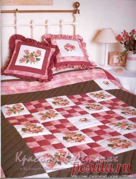 Вышитые плед и подушки для спальни с розами!