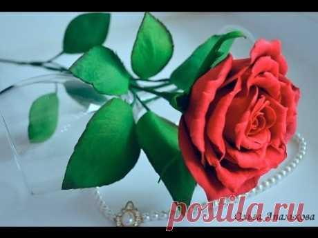 Роза на стебле из фоамирана