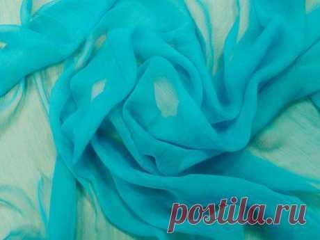 Крэш-шифон шелковый (бирюзовый) - купить ткань онлайн через интернет-магазин ВСЕ ТКАНИ