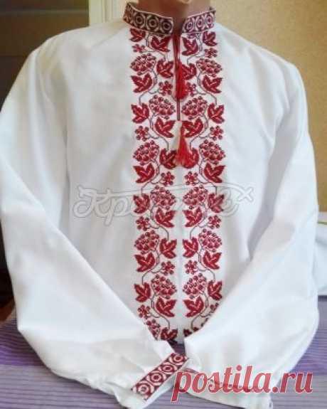 "Cholov_cha shirt ""Червона калина&quot vishivanka; | ""Хрестик"" - _nternet-shop vishivanok"