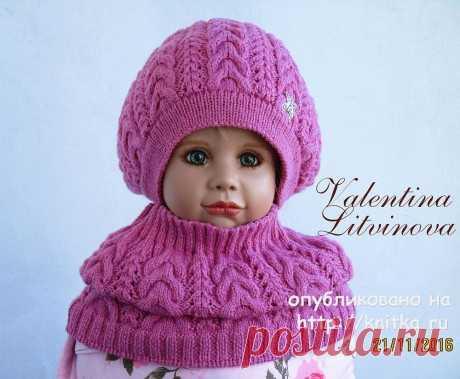 Комплект: шапочка и снуд для девочки спицами, Вязание для детей