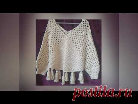 بلوزه بونشو كروشية لأي مقاس  Exclusive blouse Poncho crochet for any size / قناة #كروشية_يوتيوب