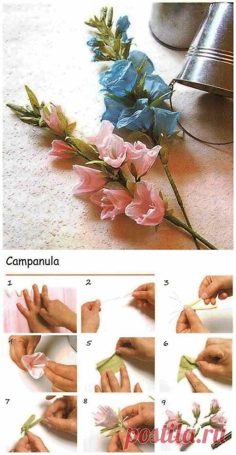 Кампанула из гофрированной бумаги / Цветы из бумаги / В рукоделии