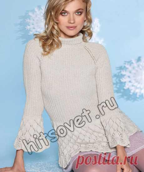 Пуловер с баской - Хитсовет Пуловер с баской. Модная модель женского пуловера реглан с ажурной баской и воланами по краям рукавов и нижней юбочкой из мохера со схемами и бесплатным описанием вязания. Вам потребуется: