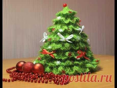 Как связать елочку крючком   how to knit crochet Christmas tree - YouTube