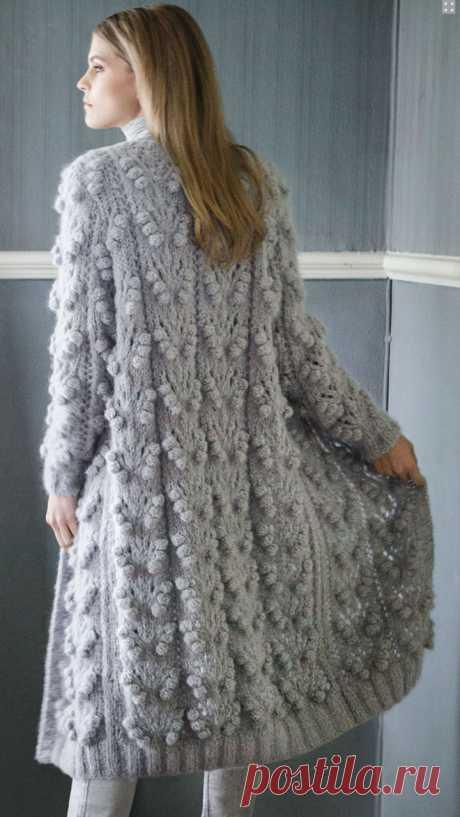 Пальто с узором из шишечек спицами — Shpulya.com - схемы с описанием для вязания спицами и крючком