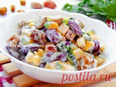 Салат с фасолью и сухариками: рецепт с фото