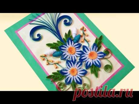 Paper Quilling Card 🌹How to make Beautiful Quilling Flowers Design for Happy Birthday Card