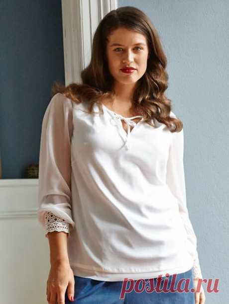 Блузка приталенного силуэта - выкройка № 129 из журнала 8/2015 Burda – выкройки блузок на Burdastyle.ru