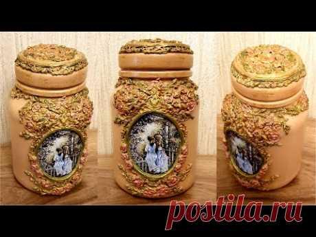 DIY/Decor glass jar /Decoupage on glass /How to Decor glass jar with air dry clay