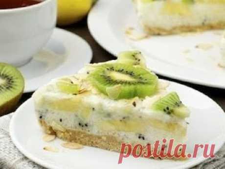 Вкусные рецепты: Йогуртовый низкокалорийный торт с киви и бананом
