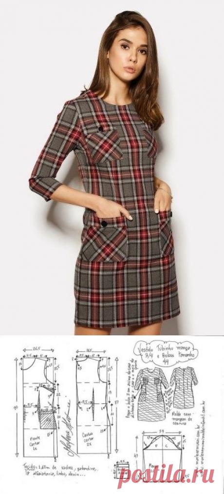 Платье с рукавом 3/4. Размер 36-56(евро). Выкройки (Шитье и крой) – Журнал Вдохновение Рукодельницы