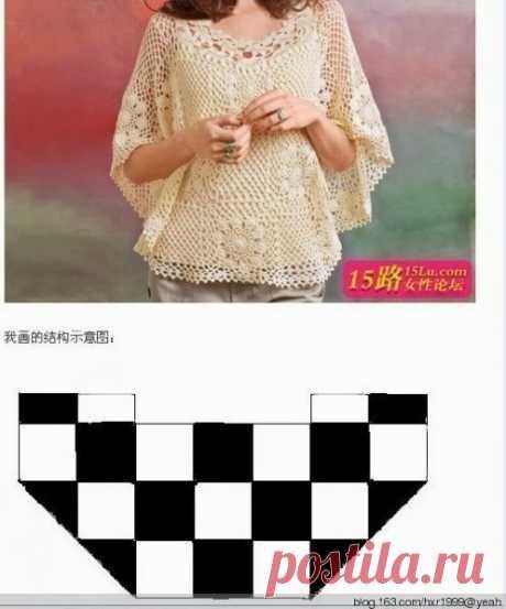 Блузка-накидка из мотивов.