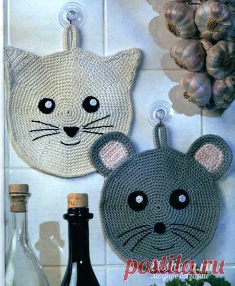 """Прихватки """"Кошка и мышка"""" вязаные крючком"""