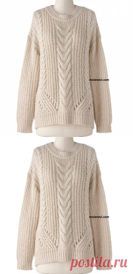 Свободный свитер спицами с рельефами - Вяжем с Лана Ви