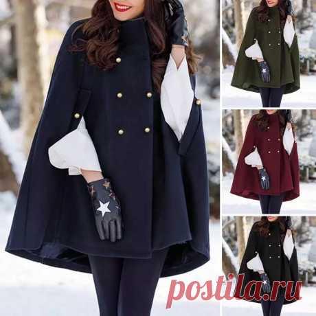 Осенне зимние куртки накидки, повседневные двубортные плащи с рукавом «летучая мышь», модные женские накидки, пальто пончо, верхняя одежда размера плюс