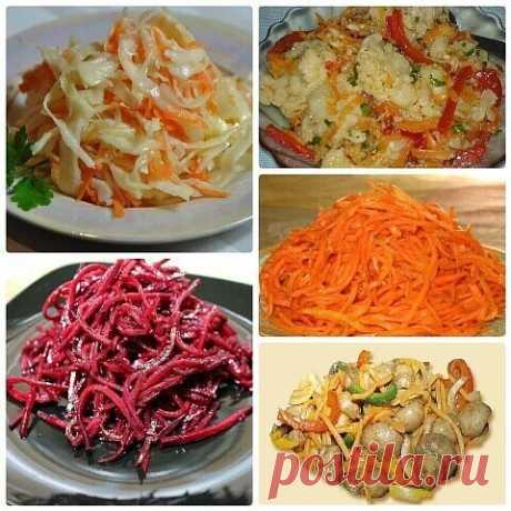 Салаты по-корейски: 5 рецептов! Все вкусно! ТОП-5самых вкусных овощных салатов: морковь, свекла, цветная и обычная капуста, грибы! Поделитесь подборкой с другом!    1. Морковь по-корейски...  Ингредиенты:  — 500 г крупной сочной моркови— 1 столовая ложка соли — 3 столовые ложки растительного рафинированного масла — 2 луковицы — 2 столовые ложки уксуса — 2 столовые ложки приправы для корейской моркови  Приготовление: Морковь по корейски получиться вкуснее, если для ее ...