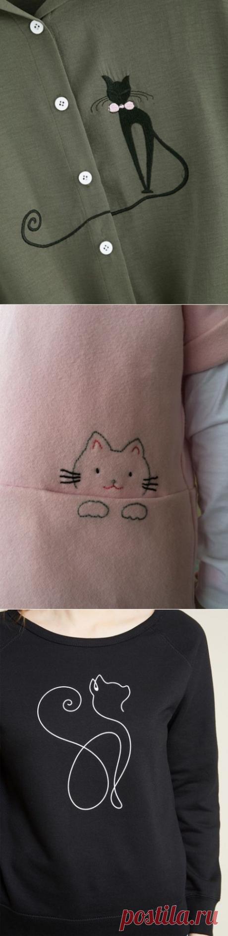Как украсить одежду котиками