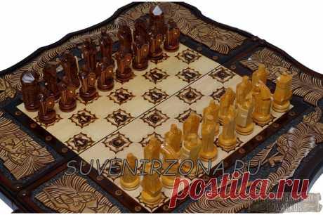 Купить резные шахматы-нарды «Ледовое побоище» ручная работа
