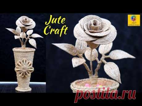 DIY Jute Flower Vase with Flower | Jute Rose Flower Making Craft | Jute Craft Decoration Design
