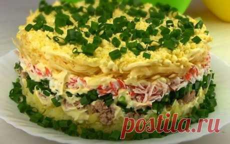 Салат Аристократ с Тунцом и Крабовыми Палочками Салат Аристократ рецепт праздничного слоёного салата. Этот салат получается очень воздушным и обалденно вкусным. Салатик прекрасной подойдет к любому празднику.