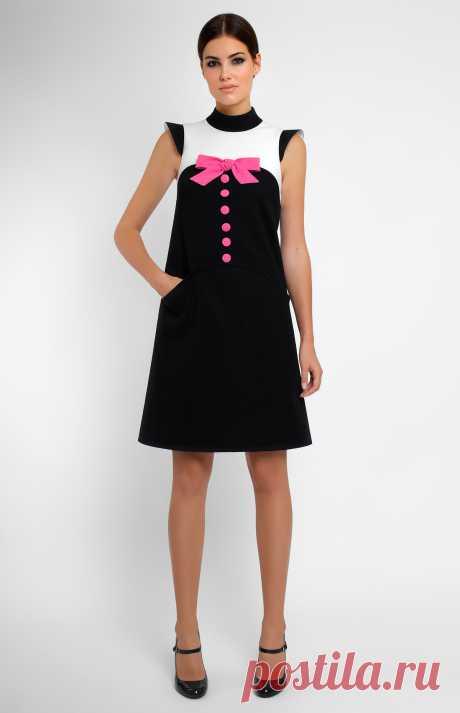 Shajah Комбинированное платье А-силуэта из чёрно-белого хлопка. Воротник-стойка. Потайная молния на спине. Рукав-крылышко. Бант ручной работы дизайнера из натуральной шерсти. Боковые карманы. На фото: модель ростом 176 см, размер S.