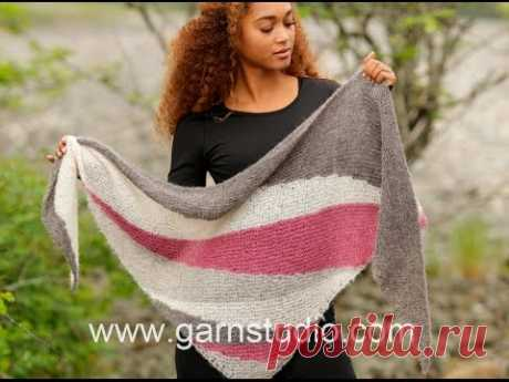 How to knit short rows and stripes in shawl in DROPS 172-20