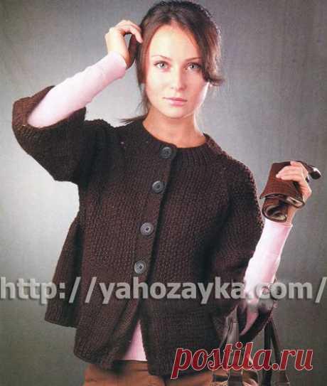 Темно-коричневый жакет спицами - схема вязания + фото описание Схема вязания спицами темно-коричневого жакета - вязание для домохозяек.