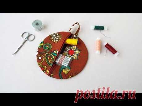 DIY. Как сшить круглую косметичку из ткани. How to sew a round cosmetic bag