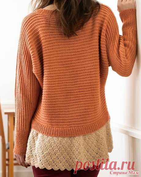 Fashionable silhouette. Pullover spokes and hook. - KNITTED FASHION + FOR NOT MODEL LADIES - the Country of Mothers