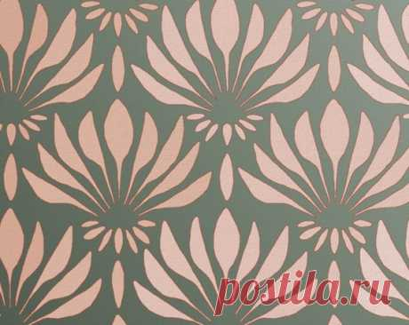 "Pattern STENCIL for Walls - Art DECO Pattern ""Fan Flowers"" -Large Allover Wall Stencil - Reusable, Easy DIY Home Decor This allover stencil pattern looks especially stunning in metallic paint!  SIZE: Stencil measures 44 x 17 inches. Comes with registration marks for easy line-up.  - Stencils can be reused and reversed - Detailed Stenciling Instructions with tips and techniques are included with every order - FREE mini stencil included with every order - Made with durable 1..."