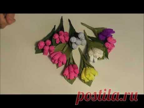DIY/ Ягодки и цветы из гофрированной бумаги. Декор композиций.