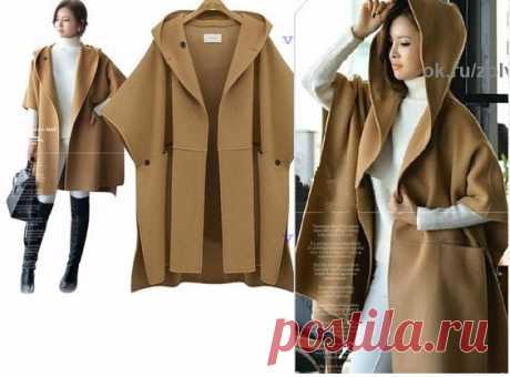 Выкройка летнего пальто с капюшоном (2 шт)  Два варианта выкройки пончо, точнее оверсайз летнего пальто с капюшоном. Из плотного трикотажа такое можно носить и летом: